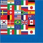 World Cup International Flag Paper Luncheon Napkins 2ply Pk 16