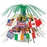 World Cup International Flag Mini Cascade Table Centrepiece 7.5""