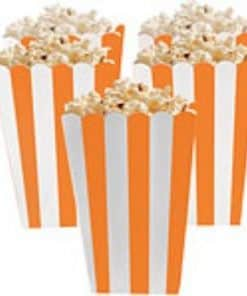 Orange Stripy Popcorn Boxes For Events and birthday parties