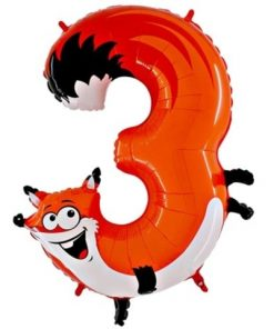 Animaloons Fox - Number 3 Age Balloon - 40""