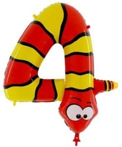 Animaloons Snake - Number 4 Age Balloon - 40""