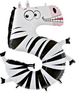 Animaloons Zebra - Number 5 Age Balloon - 40""
