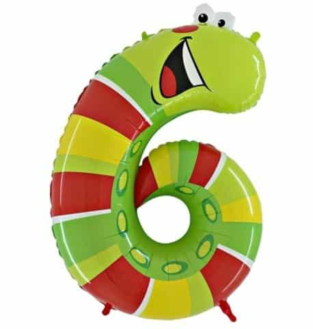 Animaloons Caterpillar - Number 6 Age Balloon - 40""