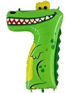 "Animaloons Crocodile - Number 7 Age Balloon - 40"""