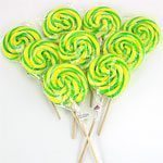 Green & Yellow Large Wheel Lollies Pk 30