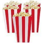 Apple Red Stripy Popcorn Boxes Pk 5
