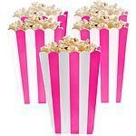 Bright Pink Stripy Popcorn Boxes Pk 5
