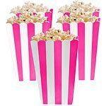 Bright Pink Stripy Popcorn Boxes Pk 5