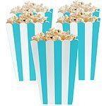 Caribbean Turquoise Blue Stripy Popcorn Boxes Pk 5