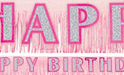Happy Birthday Glitter Fringed Banner - pink