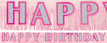 Happy Birthday Glitter Fringed Banner - pink