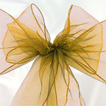 Gold Organza Chair Sashes - pack of 6