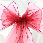 Red Organza Chair Sashes - pack of 6