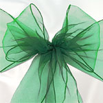 Green Organza Chair Sashes - pack of 6