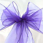 Purple Organza Chair Sashes - pack of 6