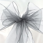 Silver Grey Organza Chair Sashes - pack of 6