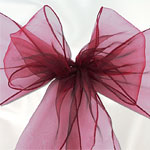 Burgundy or Claret Organza Chair Sashes - pack of 6