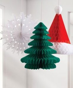 A pack of three festive honeycomb vintage decorations including a green Christmas tree (10.5inches), Santa's hat (12.5inches) and a snowflake (12inches)! Perfect for festive decorating that both kids and adults will adore! Large Honeycomb Decorations - 30