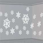 20 different card snowflakes of different sizes and patterns. All snowflakes are coated with light glitter finish so that they glisten and sparkle in the light. Hang them from the ceiling or mount them on a wall. Use them indoors or out in covered areas.