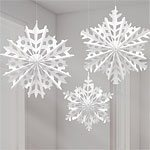 Snowflake Fan Decorations Pk 3