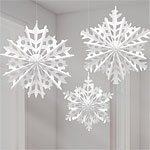 Snowflake Fan Decorations Pk 3