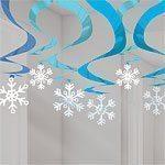 Blue Snowflake Hanging Swirls- 61cm - Pk 12