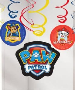 Paw Patrol Party Hanging Swirl Decorations