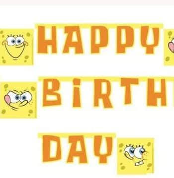 Spongebob Party Happy Birthday Banner