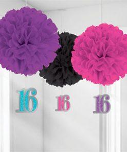 Sweet 16 Pom Pom Decorations Pk 3