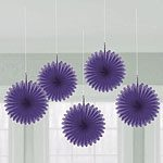 Purple Hanging Fan Decorations - pk 5