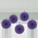 Purple Hanging Fan Decorations - pk 5