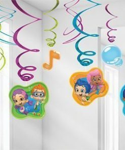 Bubble Guppies Party Hanging Swirl Decorations - 60cm Drop - Pk 12