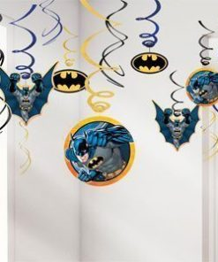 Batman Party Hanging Swirl Decorations - 55cm - Pk 12