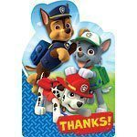 Paw Patrol Party Thank You Cards Pk 8