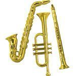 Mardi Gras Masquerade Party Gold Plastic Musical Instrument Decorations - 53cm Pk 3