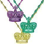 Mardi Gras Masquerade Party Bead Necklaces with Crowns Pk 3