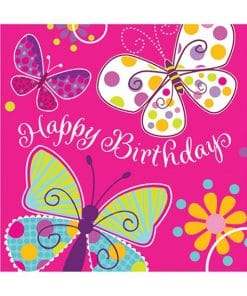 Butterfly Sparkle Party Happy Birthday Napkins