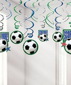 Football Party Hanging Swirls Decoration - 60cm (12pk)