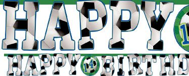 Football Party Happy Birthday Age Banner - 3.2m