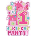 Wild at One Girl's 1st Birthday Party Invitations (8pk)