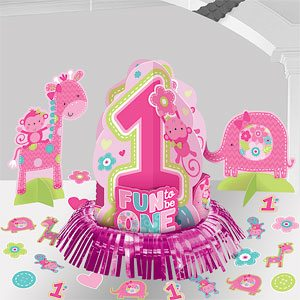 Wild at One Girl's 1st Birthday Party Table Decorating Kit