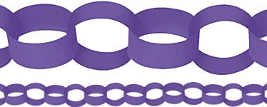 Purple Paper Chain Garland Decoration - 3.9m