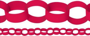Red Paper Chain Garland Decoration - 3.9m