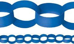 Royal Blue Paper Chain Garland Decoration - 3.9m