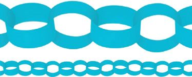 Turquoise Blue Paper Chain Garland Decoration - 3.9m