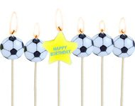 Football Party Happy Birthday Pick Candles (6pc)