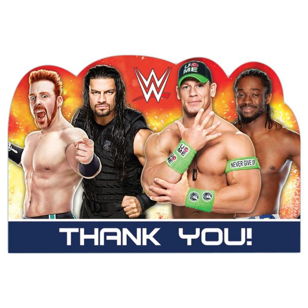 WWE Wrestling Themed Party Thank You Cards