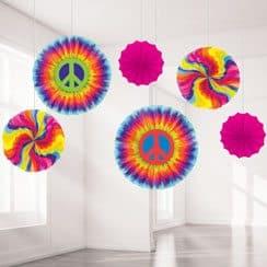 1960s Feeling Groovy Party Paper Fan Decorations - 40cm (6pk)