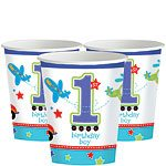 All Aboard 1st Birthday Paper Party Cups - 256ml (8pk)