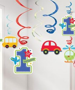 All Aboard 1st Birthday Party Hanging Swirl Decorations (PK 12)